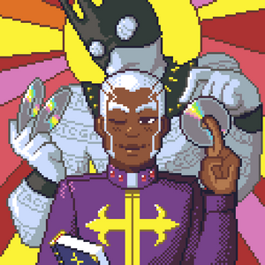 Pixel art of Enrico Pucci and Whitesnake from Jojo's Bizarre Adventure.