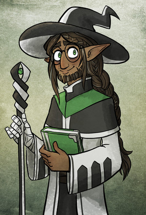 A portrait of my OC, Timaeus, a half-elf cleric/wizard/sorceror. He has a big floppy wizard hat and too many spells.