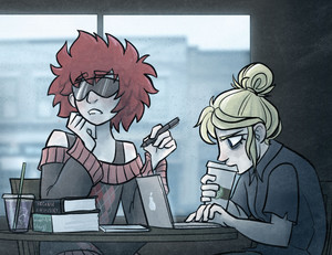 My Danganronpa OCs, Aoi and Tiffani, working on homework in a coffeeshop on a gloomy day. Aoi stares off into the distance while thinking about homework, and Tiff hunches over her laptop with a venti pumpkin spice latte.