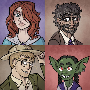 Portraits of a stone-faced woman with red hair, a bedraggled man with a mustache and goatee, a dashing blond man with round glasses, and a friendly goblin with twin braids.