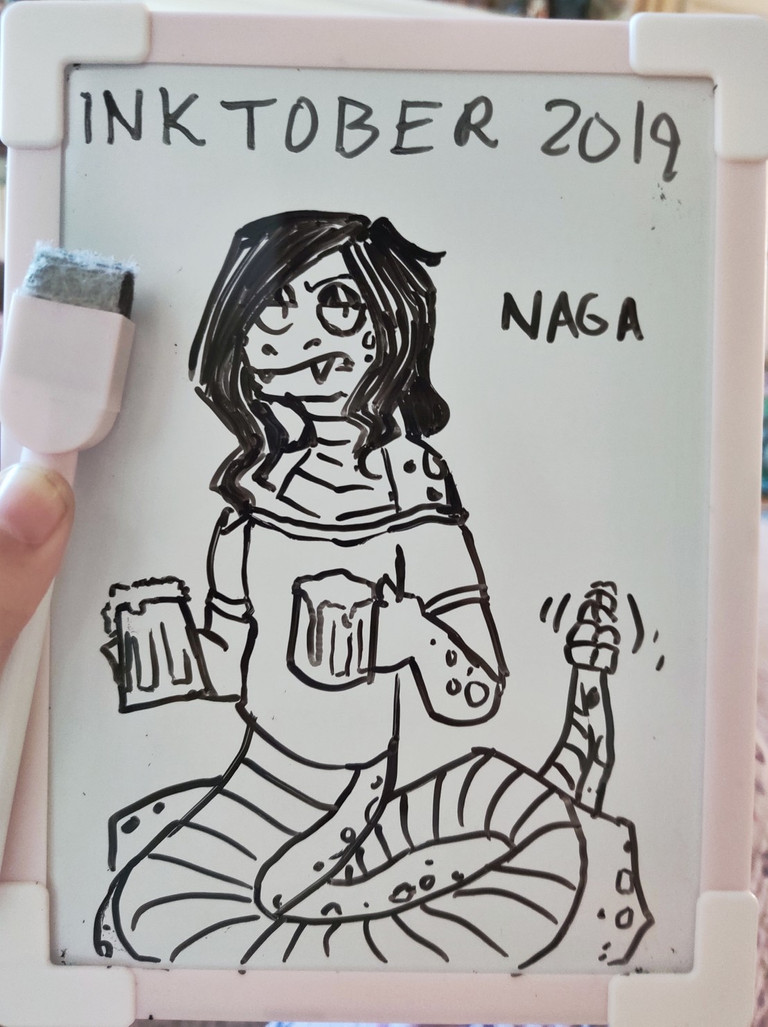 Whiteboard doodle of an annoyed naga bartender. This one's an NPC in a game I'm running.