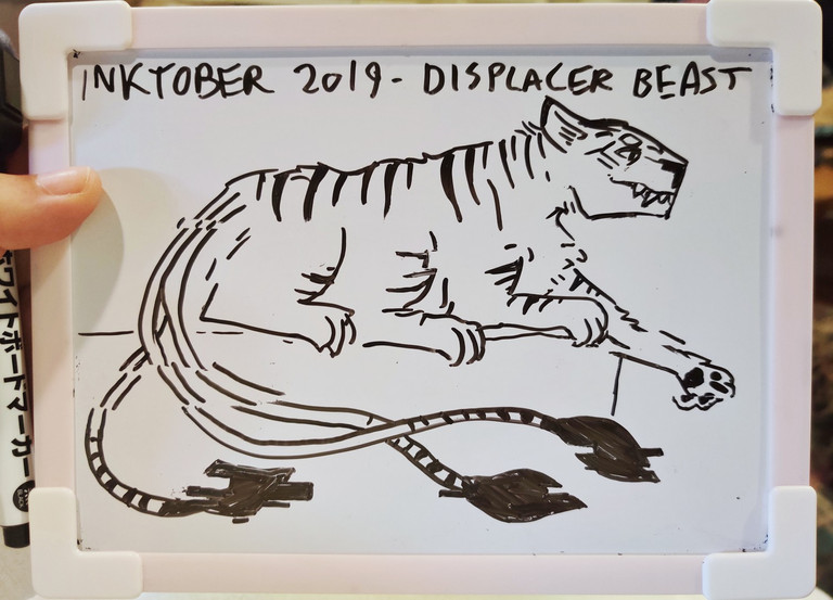 Whiteboard doodle of a displacer beast with stripes like an albino tiger.
