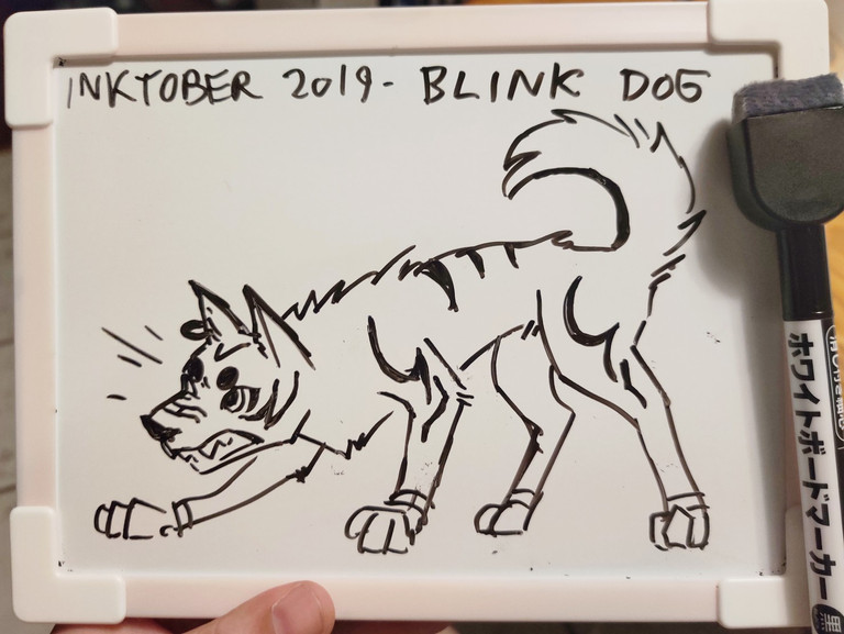 Whiteboard doodle of a blink dog.