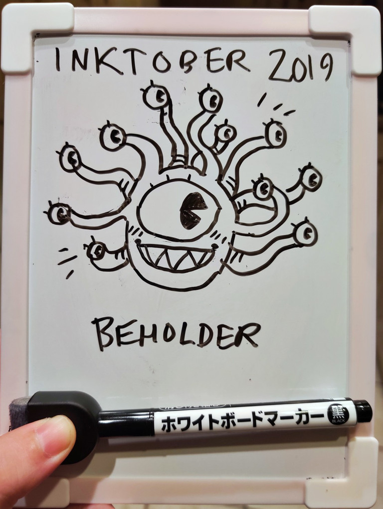 Doodle of a beholder with cartoony eyes.