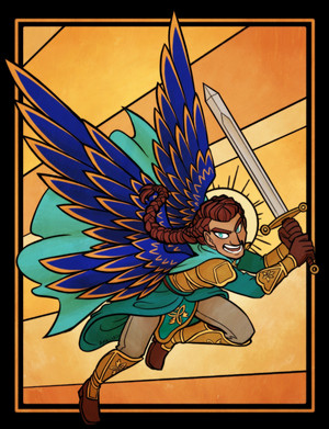 Digital art of an armored humanoid angel wielding a longsword. He has long braided hair and massive blue-and-gold wings.