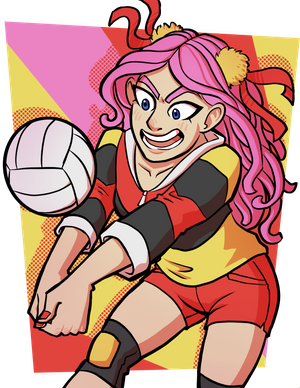 Art of my friend's Danganronpa OC. She has pink hair and a loud red and yellow jacket, and is bumping a volleyball aggressively.